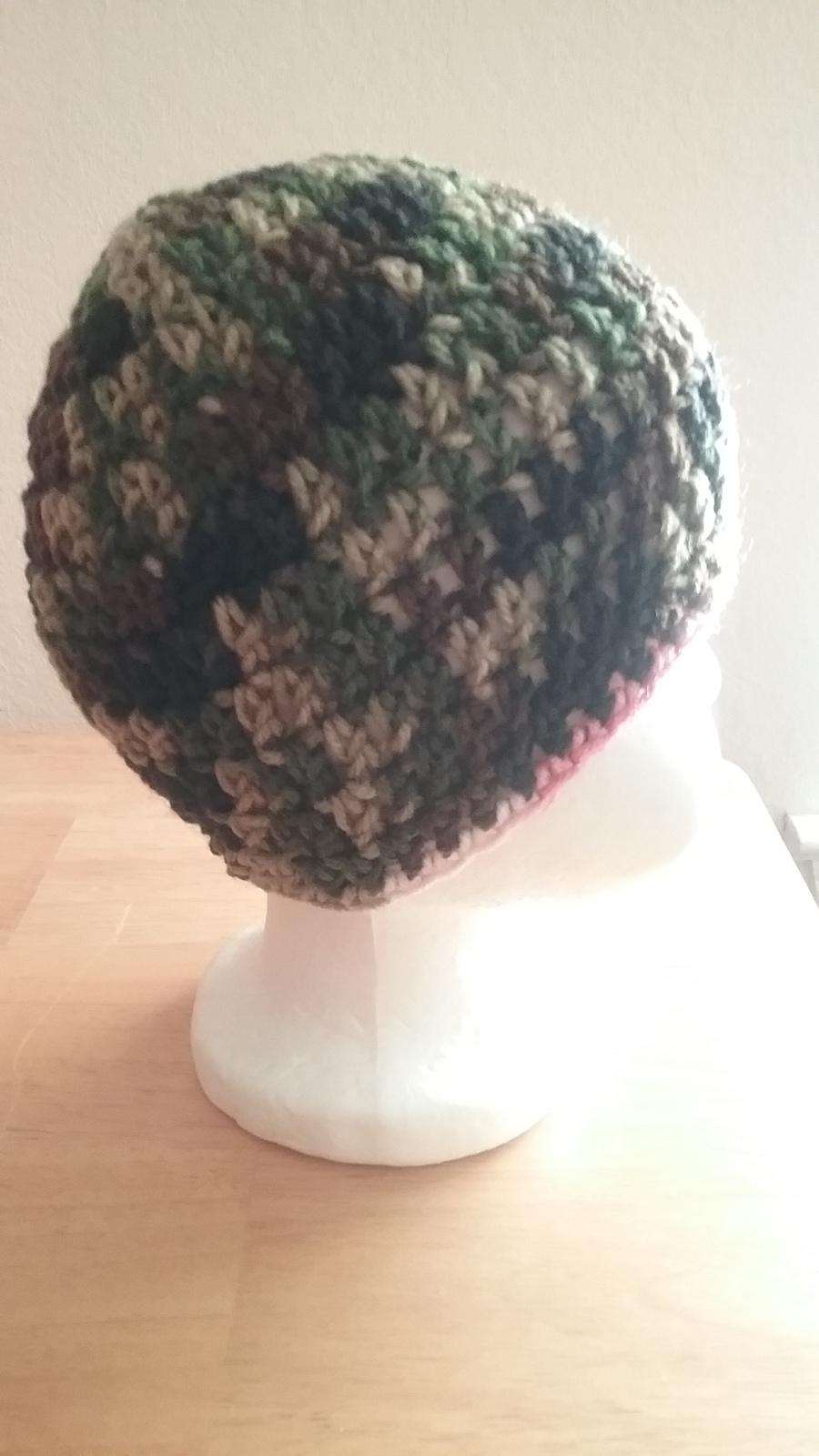 Handmade Crochet Newborn Baby Camo Flowered Hat