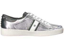 Michael Kors MK Women's Frankie Stripe Leather Sneakers Shoes Silver image 5