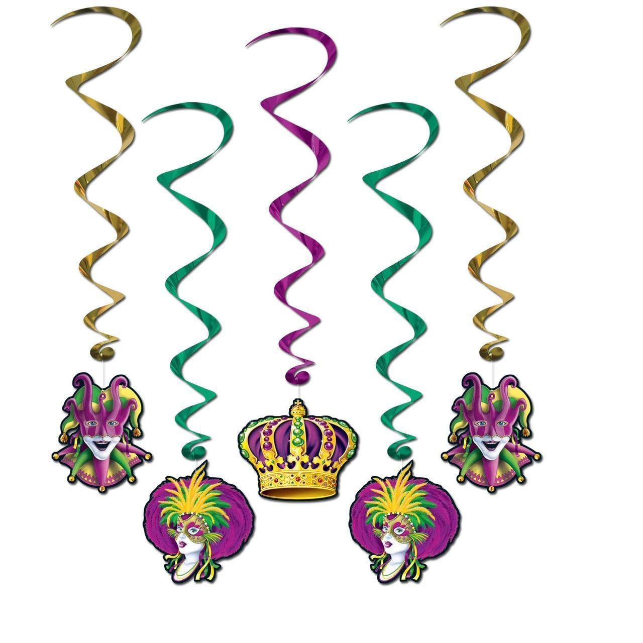 Mardi Gras Hanging Decorations Whirls 5 Pc