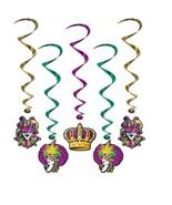 Mardi Gras Hanging Decorations Whirls 5 Pc - $6.59