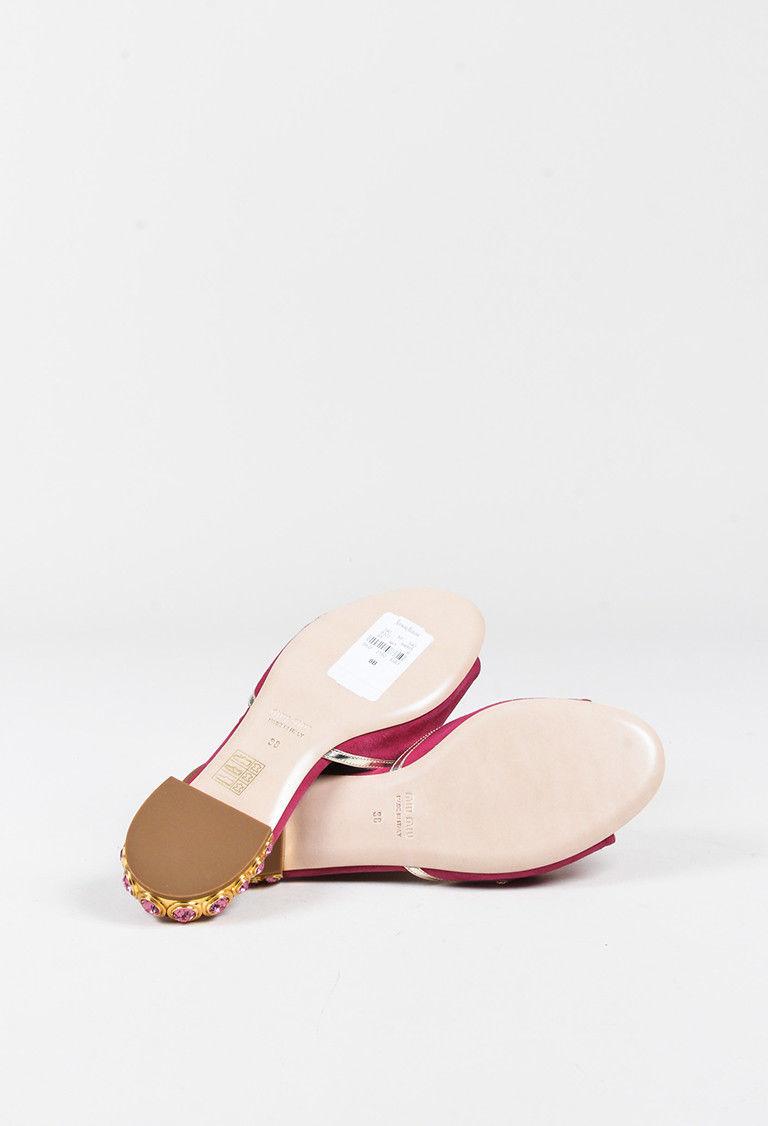 Miu Miu Pink & Metallic Gold Suede Crystal Embellished Open Toe Sandals SZ 38