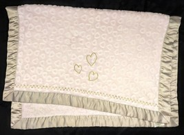 LAMBS & IVY Pink Embossed HEART Blanket Lovey Silver Satin Trim Gold SOF... - $21.77