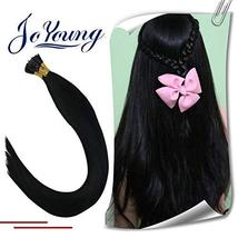 JoYoung 20inch Keratin I Tip Hair Extensions Black #1 Human Hair Solid Color Pre image 2