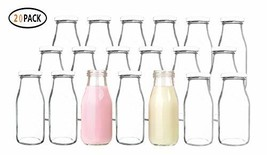 QAPPDA 12 oz Glass Bottles, Glass Milk Bottles with Lids, Vintage Breakfast - $32.02