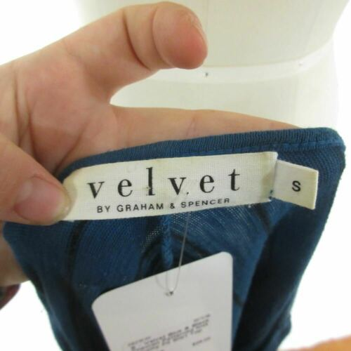 S - Velvet Blue & Black Chevron Patterned Knit Slouchy Fit Shirt Top 0921KW image 5