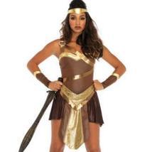 Golden Gladiator Women's Costume, Amazon Warrior, General Leg Avenue LARGE image 1