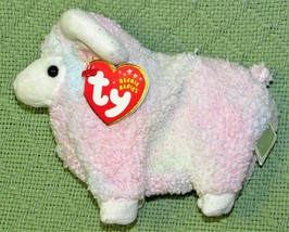 TY BEANIE BABIES BAM THE RAM WITH HEART TAG SPARKLY HORNS FEET PINK TYE ... - $9.50