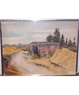 COVERED BUILDING BY A ROAD BY GODFREY LEEMAN - $124.95