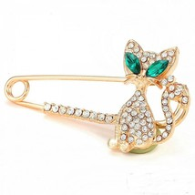Fashion Women Rhinestone Crystal Green Eyes Cat Brooch Lapel Pin - $4.02+