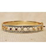 Signed B Designer Gemstone Bangle Bracelet Original Box - $49.48