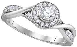 10k White Gold Round Diamond Solitaire Twist Bridal Wedding Engagement R... - $496.00