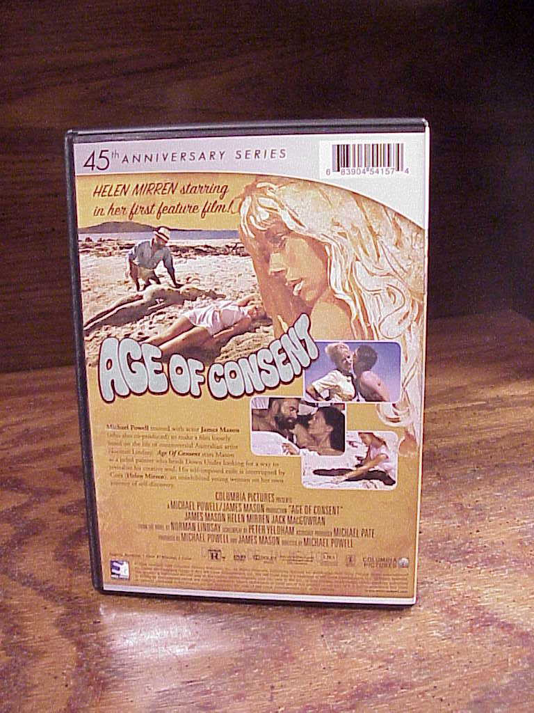 Age of Consent DVD, 45th Anniversary Series, Helen Mirren, James Mason, R, used