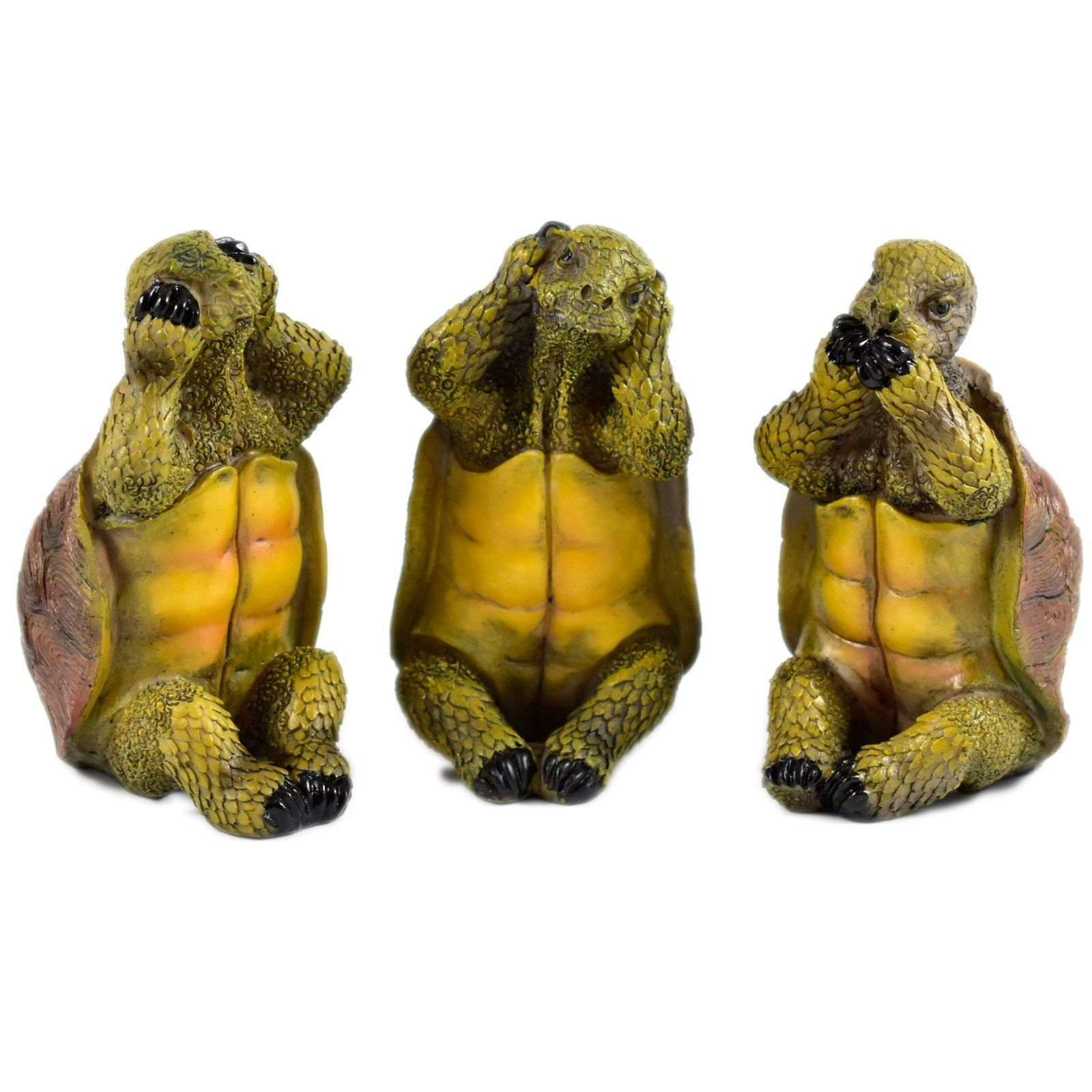 See No Evil Speak No Evil Hear No Evil Three Wise Turtles Tortoise Figurine Set
