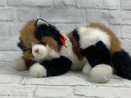 Ty Maggie CAT Calico Plush 1995 Retired White, Black, and Orange w Red R... - $10.99