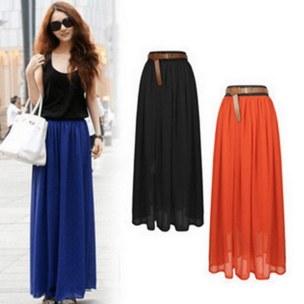 Daisy dress for less skirts sexy bohemian pleated chiffon long skirt 1408242745375