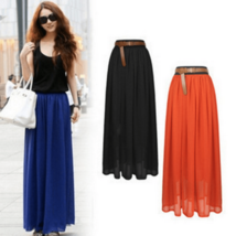 Sexy Bohemian Pleated Chiffon Long Skirt - $10.98