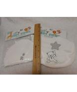 New white Baby View Bib & matching skull hat cap Teddy Bear Design Unise... - $7.91