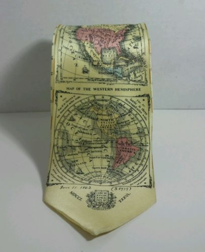 Geography Men's Tie with old world maps Museum Artifacts Hand Made 100 % Silk