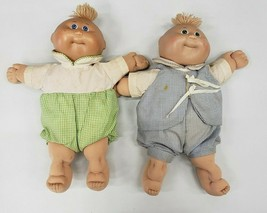 2 1985 Vintage Cabbage Patch Kids Bald, Blue eyes & Green Eyes with Outfits  - $37.40