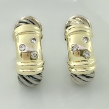 David Yurman Cable Metro Huggie Earrings With Diamonds Sterling Silver &14k Gold - $714.42