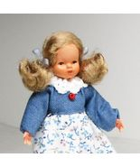 Dressed Little Girl Blue Bodice Red Shoes 0746 Flexible Dollhouse Miniature - $23.13