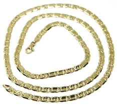 """SOLID 18K YELLOW GOLD CHAIN TIGER EYE ALTERNATE FLAT PLATES LINKS 4 mm, 24"""" image 1"""