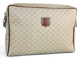 Auth CELINE Macadam PVC Canvas & Brown Leather Clutch Secondary Handbag ... - $94.09