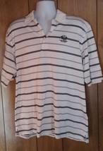Oxford Golf Men's Size XL Polo Shirt White Blue Striped Short Sleeve Shirt - $12.19