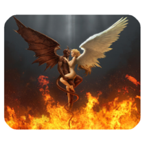 Mouse Pads Angel And Demon Good And Bad Couple Anime In Fire Love Mousepads - $6.00