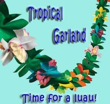 FLOWER TISSUE Luau Tiki Hawaiian Tropical Party Decorations Garland 9ft ... - $5.52