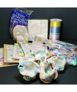 Vintage Baby Shower Decorations Pink Blue Yellow Picks Favors Crochet Ba... - $49.99
