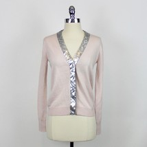 NWT J. Crew Placket Blush Pink Cardigan With sequins Sz XXS G9842 Sold Out - $69.99