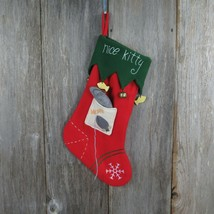 Nice Kitty Christmas Stocking CatMouse Fish Bells Fleece Green Red Pet  - $34.64