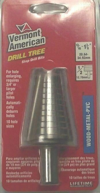 "Primary image for Vermont American 13380 13/16"" to 1-3/8"" Step Drill Bit"