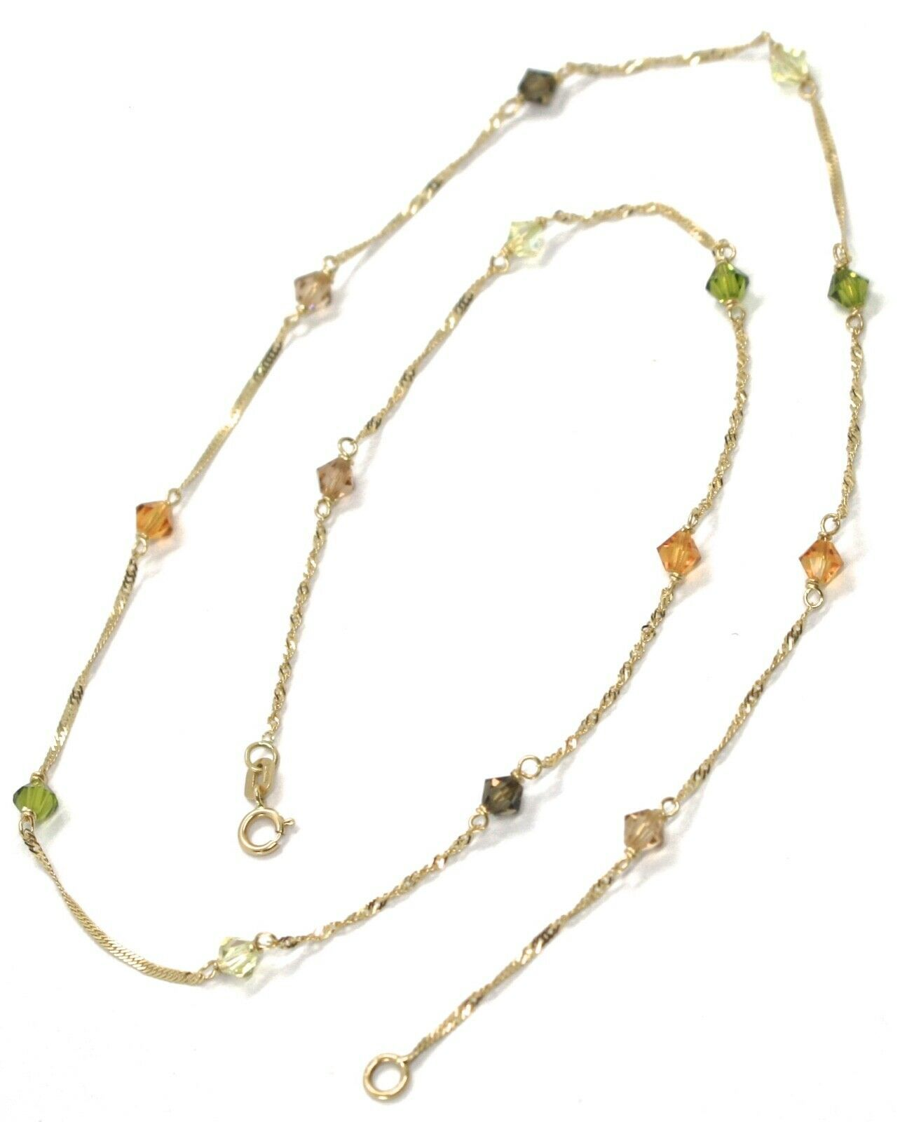 18K YELLOW GOLD NECKLACE, ALTERNATE FACETED MULTI COLOR CRYSTALS SINGAPORE CHAIN