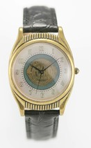 Fossil Watch Mens Stainless Gold Steel Black Leather 30m Batt White Gree... - $33.46