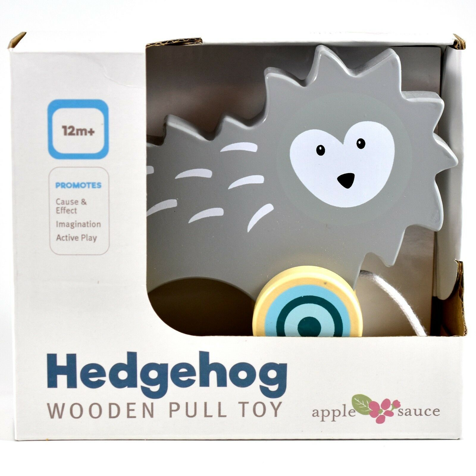 Applesauce Hedgehog Baby Wooden Pull Toy for Toddlers Children Ages 12+ Month