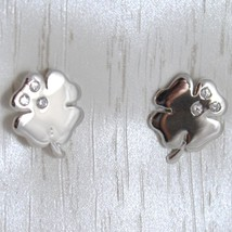 White Gold Earrings 750 18k, Clover, Long 1 cm, with Zirconia image 1