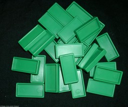 25 Vintage Pressman Domino Rally Dominoes Green Refill Pieces For Set Parts Toy - $5.00