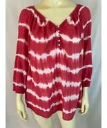 Chaps Ralph Lauren Top L Sheer Gauzy Cotton Pullover Shirt Salmon White ... - $34.65