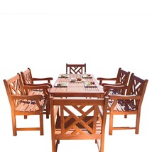 Malibu Eco-Friendly 7-Piece Wood Outdoor Dining Set V98SET11 - $972.41