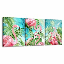 """Colorful Pink & Blue Flamingos & Leaves Set of 3- 12""""x16"""" Canvas Prints Wall Art - $59.00"""