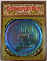 Carnival Glass Indiana Blue Bicentennial Plate Liberty Bell Vintage 1976 - $21.78