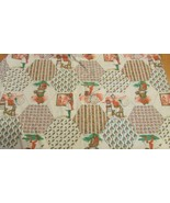 "41""x 32"" fabric panel vintage Holly Hobbie orange brown hexagon square p... - $12.02"