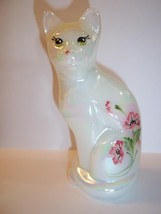 Fenton Glass Opal Iridized Stylized Cat Figurine Pink Floral Ltd Ed of 100 - $53.84