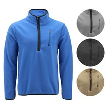 Men's Warm Polar Fleece Half Zip-Up Collared Lightweight Pullover Sweater