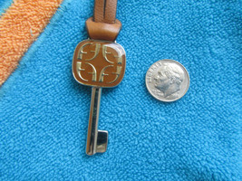 Fossil Replacement Fancy Silver tone F Key Fob Purse Charm Dual Leather ... - $21.28