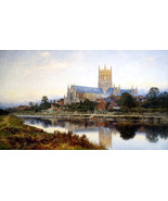 Worcester Cathedral Painting by Benjamin Williams Leader Art Print Repro... - $28.99+