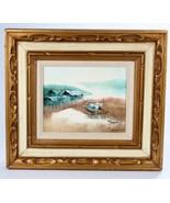 Landscape Sea Scene Oil on 8 x 10 Canvas Signed Gold Gilt Frame  - $123.75