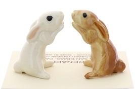 Hagen-Renaker Miniature Ceramic Rabbit Figurine Honey Bunny White and Brown Set